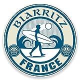 2x 10cm Biarritz France vinyle autocollant voiture pour ordinateur portable bagages de voyage de surf Cool # 9244 - 10cm Wide x 10cm High