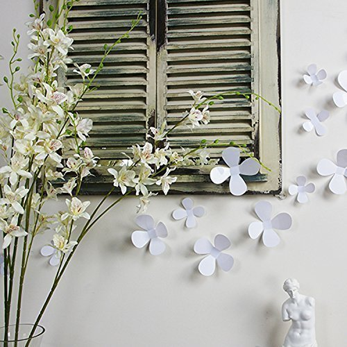 Blumen-wand (Walplus weiß 3D Blumen Wand Aufkleber abnehmbare Wandbild Kunst Abziehbilder Vinyl Home Dekoration DIY Living Schlafzimmer Décor Tapete Kinder Zimmer Geschenk, 9x 9cm)