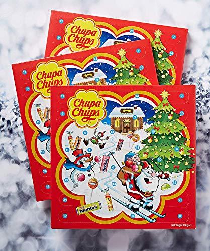 Chupa Chups X-mas Calendar, Calendario Avvento con Caramelle e Lecca-Lecca, Lollipop e Caramelle Assortite, Pacco da 3 x 24 Sorpres