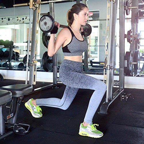 Amlaiworld Pantalons de Sport Leggings de Sport, Yoga, Pilates, Planche, Jogging et Fitness Gris
