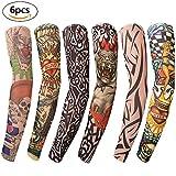 Gospire Mobengo 6 Pcs Fashion Nylon Fake Temporary Tattoo Sleeves Arm Stockings Halloween Tattoo Soft For Men Women