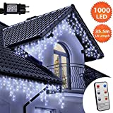 Eiszapfen Lichterketten 1000 LED lichterkette außen mit Fernbedienung, Helle Blau & Weiße Baum Lichter, Länge 35,5m,GS Geprüft,Optional mit 8 Leuchtmodi/Memory/Timer,Weiße Kabel-2 Jahre Garantie