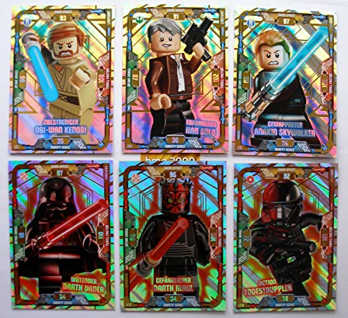6 Karten Lego Star Wars Trading Card Serie 1 - LE 2 Obi Wan Kenobi LE 11 wütender Darth Vader LE 12 Darth Maul LE 4 Han Solo LE 6 Anakin Skywalker LE 16 Action Todessruppler