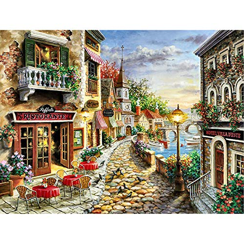 Home Decor Kit (MXJSUA DIY 5D Diamond Painting Full Square Drill Kits Rhinestone Picture Art Craft for Home Wall Decor 12x16In Romantic Town)