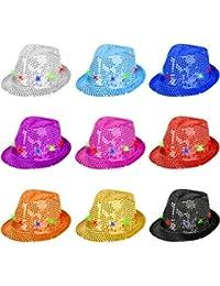 Partyhut Palliettenhut mit Lichteffekten in verschiedenen Farben ideal für Fasching (Violett)