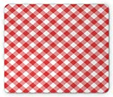 Tappetino per mouse da gioco, Plaid Mouse Pad, Diagonal Gingham in Classical Colors Mother's Day Themed Pattern, Standard Size Rectangle Non-Slip Rubber Mousepad, Dark Coral Dried Rose White