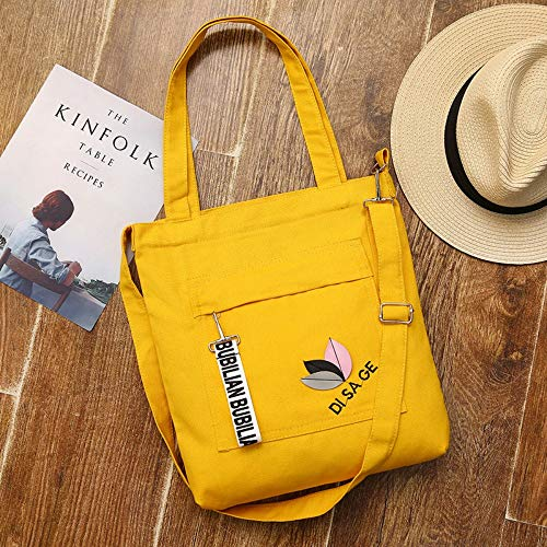Y · Z Tasche Canvas Umhängetasche Grüne Einkaufstasche Gestreifte Mode Baumwolle Canvas Stoff Ökologische Tasche, Gelb -