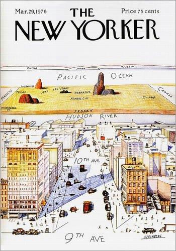 Poster 30 x 40 cm: Der New Yorker von Steinberg - hochwertiger Kunstdruck, neues Kunstposter