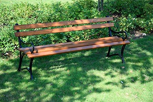 dobar Große Garten Sitzbank aus Gusseisen massiv, FSC für draußen wetterfest, Holzbank mit Lehne aus Metall, 180 x 45 x 72,5 cm, braun - 8