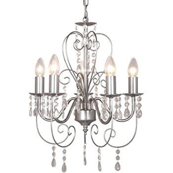 Traditional Grey Ornate Vintage Style Shabby Chic 5 Way Ceiling Light Chandelier With Beautiful Acrylic Jewels