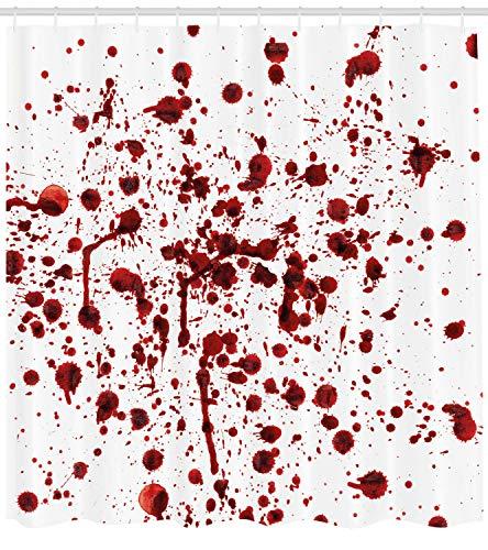 ABAKUHAUS Duschvorhang, Spritzer von Blut Schmutz Art Blutfleck Horror Zombie Halloween Thematisiertes Druck, Blickdicht aus Stoff inkl. 12 Ringe für Das Badezimmer Waschbar, 175 X 200 ()