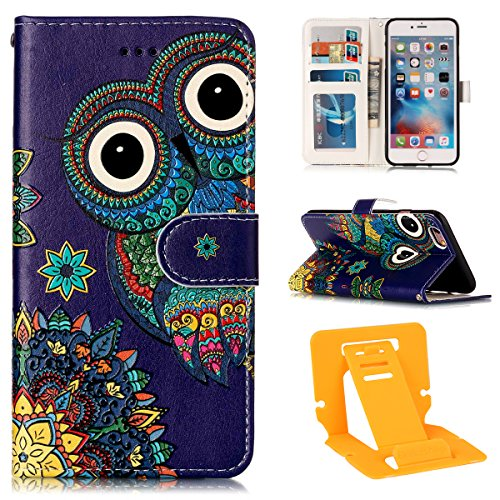 Coque Etui pour Apple iphone 6s Plus,iphone 6 Plus Coque Wallet Case,Ekakashop PU Cuir Portefeuille Coque Housse Folio Swag Housse de Protection Protecteur Ultra mince Motif Flip Cover Clapet Case ave Hibou National