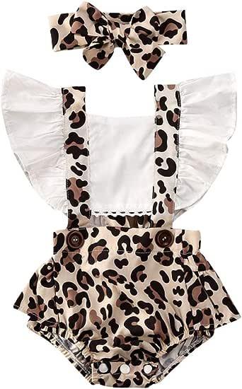 Geagodelia Neonata Bambina Leopard Pagliaccetto Manica Increspata Backless Tuta Body Fascia Estate Vestiti Set