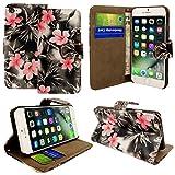 Kamal Star® Klappschutzhülle fürs Handy, aus Kunstleder, mit Standfunktion, für verschiedenen Apple-Handys, mit Magnetschließe, inkl. Eingabestift, Kunstleder, Pink Flower Dark Grey Book, iPhone 6 (4.7'') / iPhone 6S (4.7'')