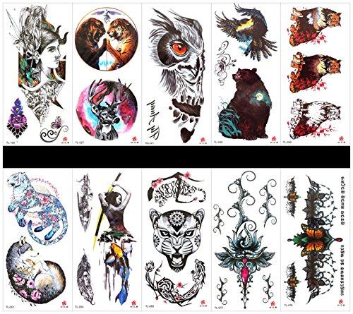SPESTYLE 10ST Tattoo Tier Tiger Tattoos wasserdicht und ungiftig echte gefälschte Tattoos in 1 Pakete, einschließlich Leopard, Blumen, Schmetterlinge, Frauen, Tiger, Hirsch, Bär, Wolf, Fisch, etc. -