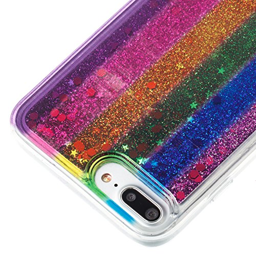 "iPhone 8 Plus 5.5"" Case, iPhone 8 Plus Gliter Case, Edaroo [Rainbow Liquid Glitter] [Colorful Quicksand] Cute Creative Flowing Liquid Floating Glitter Bling Rubber Case for Apple iPhone 7 PLUS (5.5 in Stripe #2"