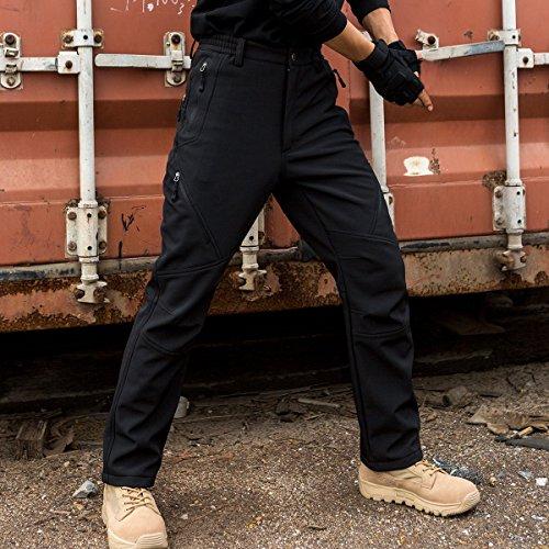Free Soldier Outdoor uomo Softshell pantaloni istantanea impermeabile e antivento, arrampicata e trekking pantaloni Black