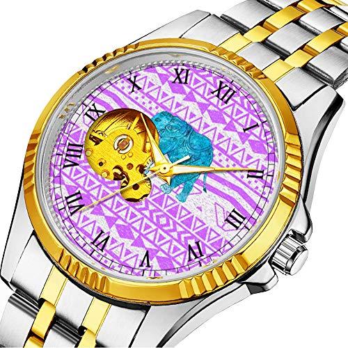 Lässige Männer automatische mechanische Uhr Luxusmarke lässige Sportuhren für männliche Persönlichkeit Zifferblatt & klares Fenster123.Cute Teal Paisley Elephant Purple Aztec Pattern (Purple Party Teal Und)