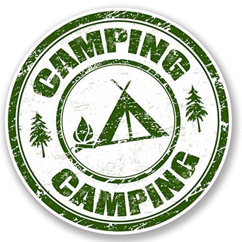 2 x 10cm/100mm Camping Vinyl SELBSTKLEBENDE STICKER Aufkleber Laptop reisen Gepäckwagen iPad Zeichen Spaß #4694 (Spaß Camping)