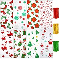 Boao 200 Pieces Christmas Cellophane Bags Santa Claus Snowman Christmas Trees Patterns Christmas Candy Cookies Bags with 300 Pieces Twist Ties for Theme Party Supplies (Style 7)