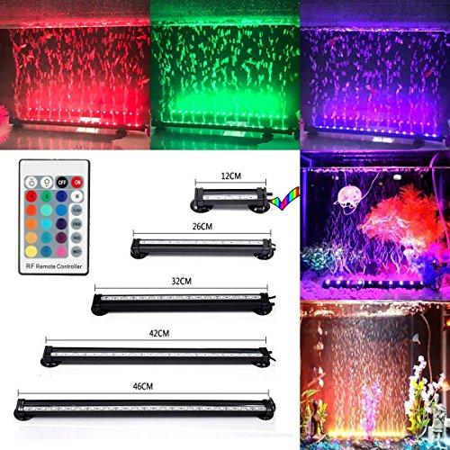 GreenSun LED Lighting 12cm RGB LED Aquarium Bubble Beleuchtung IP68 Wasserdicht Aquariumlampen Luftblase mit 24 Tasten RC Fernbedienung Unterwasserleuchte für Aquarien Fische Tank