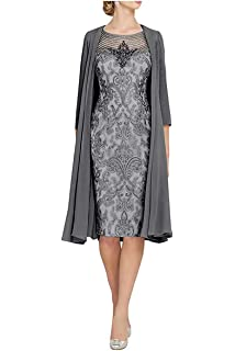 Dreammaking Knee Length Lace Applique Mother Of The Bride Dresses With 3 4 Sleeve Jacket Formal Party Evening Gown Amazon Co Uk Clothing