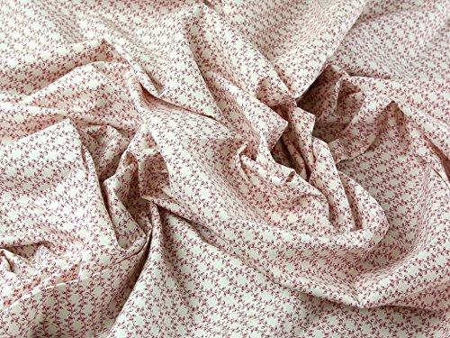 Trailing Streifen Blumenmuster Baumwolle Popeline Kleid Stoff Rose Pink auf Weiß-Meterware + Craft Guide
