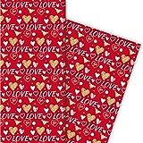 Romantisches Liebes Geschenkpapier für tolle Geschenk Verpackungen mit Herzen auch zum Valentinstag, weiß auf rot (4 Bögen, 32 x 47,5 cm)