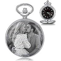 Orologio Tasca Personalizzato con Foto e Testo Incisione Orologio da Tasca Vintage Liscio Orologio Classico per Uomo…