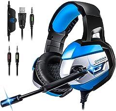 STOON Gaming Headset für PS4, Xbox One (Adapter Benötigt)/S/X, PC, Stereo Noise Cancelling Over Ear Kopfhörer mit Mikrofon, LED-Licht, Soft Memory Ohrenschützer für Nintendo Switch (Audio) Laptop Mac