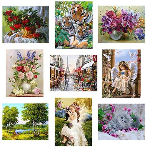 Hotaluyt 30x40cm Das Tragen von Blumen-Mädchen-Muster gedruckt Voll 5D Strass Gemälde DIY Frameless Kreuzstich von Diamond für Collection -
