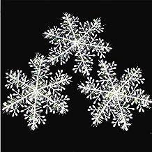 Tenrany Home 30 Pcs Blanco Navidad Copo de Nieve, Purpurina Plástico Copos de Nieve Colgantes