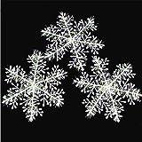 Tenrany Home Weiß Schneeflocken Ornament, 30 Stück Plastik Schneeflocken Deko zum Aufhängen Weihnachtsbaum Fenster Dekoration Weihnachten Deko Weihnachtsbaumschmuck (11cm/4.3inches)