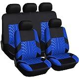 9 PCS flexzon Car Seat Covers Blue Black Dog Pet Protectors Universal Protective Fabric Set In Blue Black