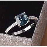 Cuteshop 14k White Gold Plated Sterling Silver Peacock Blue Topaz Square Diamond Ring Gemstone Ring Aquamarine Gemstone Weddi