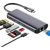 Hotott 7 en 1 Hub USB C, Tipo C Adaptador USB Ccon 4K HDMI, Ethernet Rj45, 2 USB 3.0, PD Carga Rápida, SD/TF Compatible con