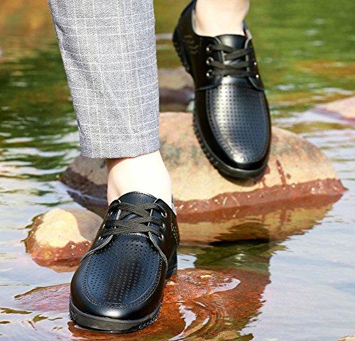 Anlarach Hommes Été Décontracté Respirant Soft Hole Microfibre PU Chaussures En Cuir Mocassins Noir