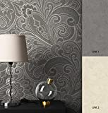 NEWROOM Barocktapete Tapete Grau Ornament Geschwungen Barock Vliestapete Vlies moderne Design Optik Barocktapete Wohnzimmer Glamour inkl. Tapezier Ratgeber