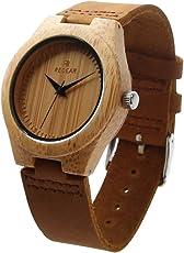 StillCool Uhr Armbanduhr Bambus Holz Uhr Naturholz Echtes Leder Für Frauen Männer Paar