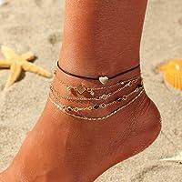 Handcess - Cavigliera in stile boho, a strati, a forma di cuore dorato, con perline, per donne e ragazze, confezione da…