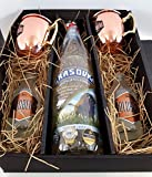 Moscow Mule Set / Geschenkset - Grasovka Büffelgras Vodka 1L (40% Vol) + 2x Goldberg Kupferbecher + 2x Goldberg Intense Ginger 200ml