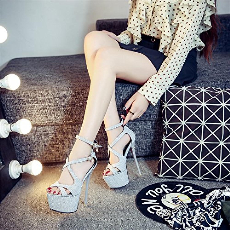GTVERNH Zapatos de Mujer/Verano/Vendas Brujas Mujer Zapatos Peces Boca Sandalias Noche Clubes Fine Tacones 16... -