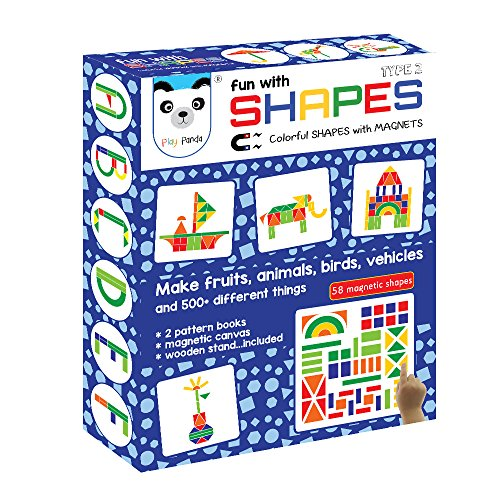 Fun with Shapes Type 2 (58 colorful magnetic shapes)(*164 designs + magnetic board + display stand included *)