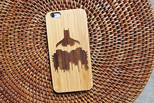 �r iPhone (handgefertigt, mit Batman-Logo, umweltfreundliches Holz, DC Comics-Design), iPhone 7 (s) 8 Plus, Bambus ()