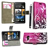 GSDSTYLEYOURMOBILE {TM} HTC ONE MINI 2 M8 MINI VARIOUS FLIP PU LEDER HÜLLE ETUI TASCHE SCHALE CASE COVER + STYLUS (Purple Butterfly Book)