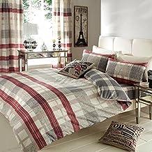 Just Contempo - Juego de cama completo con funda para nórdico, sábana bajera y cortinas a juego, diseño de rayas, algodón poliéster, beige y granate, matrimonio