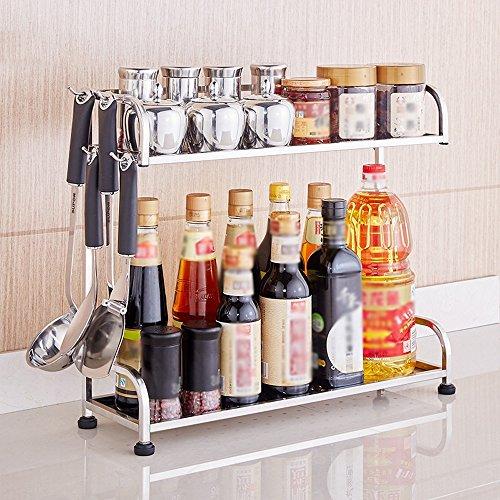 Rangement de cuisine Étagère De Bouteille D'assaisonnement De Support De Stockage D'ustensiles De Cuisine De 2 Couches D'acier Inoxydable (taille : 50 * 15 * 41cm)