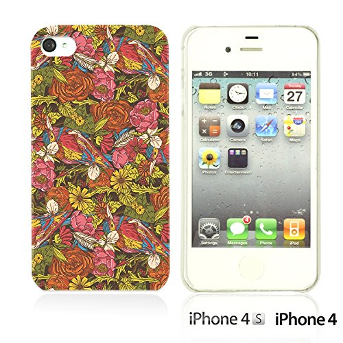 OBiDi - Flower Pattern Hardback Case / Housse pour Apple iPhone 4S / Apple iPhone 4 - Colorful Flowers With Birds Colorful Flowers With Birds