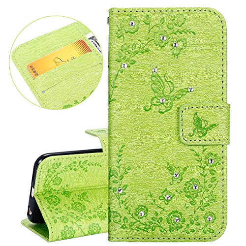 Custodia iPhone 6, ISAKEN Custodia iPhone 6S, iPhone 6 Flip Cover, Elegante borsa Dente di leone Design Custodia in Pelle Protettiva Portafoglio Case Cover per Apple iPhone 6 4.7/ con Strap / Support Diamante: verde