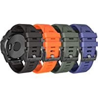 Cinturino per Garmin Fenix 6X/Fenix 6X Pro/Fenix 3/Fenix 3 HR/5X/Fenix 5X Plus/, 26mm Cinturino di Ricambio in Silicone…